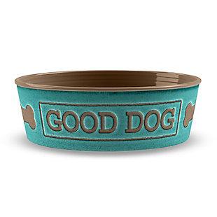 """TarHong Good Dog Pet Bowl, Medium, Teal, 6.7"""" x 2.3""""/ 4 Cups, Melamine, Set of 2, Teal, large"""