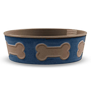 "TarHong Bone Emboss Pet Bowl, Large, Indigo, 8.5"" x 2.6""/ 8 Cups, Melamine, Set of 2, Blue, large"