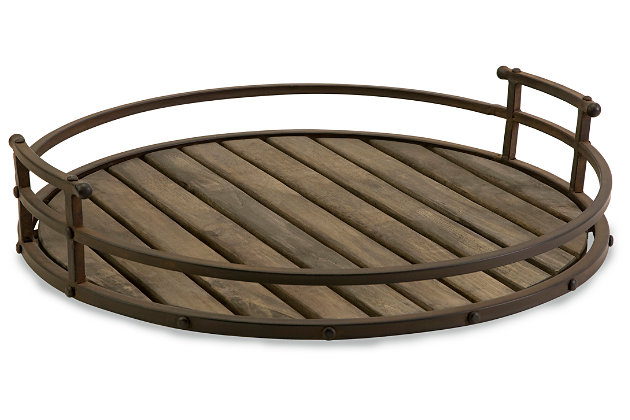 Home Accents Vermont Iron and Wood Tray, , large