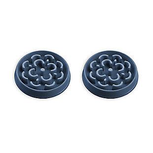 "TarHong Slow Chow™ Medallion Feeder, Medium, Blue, 9.8"" x 1.6""/3 Cups, PP Plastic, Set of 2, Blue, large"