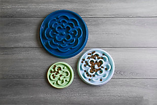 """TarHong Slow Chow™ Medallion Large Feeder, Teal, 13"""" x 1.6""""/ 7 Cups, PP Plastic, Set of 2, Teal, rollover"""