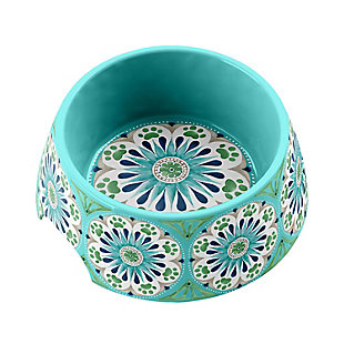 "TarHong Carmel Medallion Pet Bowl, Medium, Turquoise, 7.1 x 2.8""/ 2.5 Cups, Melamine, Set of 2, Teal, rollover"