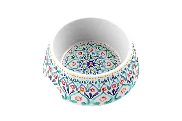 "TarHong Boho Medallion Pet Bowl, Medium, Multi, 7.1 x 2.8""/ 2.5 Cups, Melamine, Set of 2, , large"