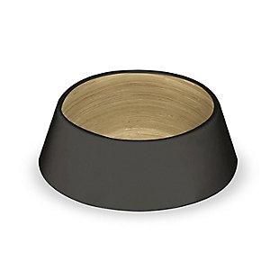 "TarHong Black and Bamboo Pet Bowl, Medium, 7.8"" x 2.5""/ 3 Cups, Melamine, Set of 2, , rollover"