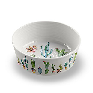 "TarHong Cactus Pet Bowl, Medium , 6.7"" x 2.3""/ 4 Cups, Melamine, Set of 2, Multi, large"