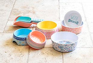 "TarHong Flower Fields Single Wall Pet Bowl, Medium, Blush, 6.7"" x 2.3""/ 4 Cups, Melamine, Set of 2, , rollover"