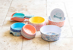 """TarHong Flower Fields Pet Bowl, Extra Small, Pink, 5.3"""" x 1.9""""/ 1 Cup, Melamine, Set of 2, , rollover"""