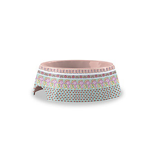 """TarHong Flower Fields Pet Bowl, Extra Small, Pink, 5.3"""" x 1.9""""/ 1 Cup, Melamine, Set of 2, , large"""