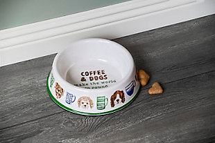 """TarHong Coffee And Dogs Pet Bowl, Medium, 9"""" x 2.4""""/ 4 Cups, Melamine, Set of 2, White, rollover"""