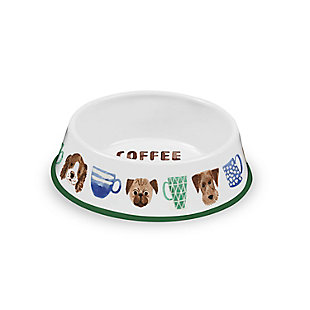 """TarHong Coffee And Dogs Pet Bowl, Medium, 9"""" x 2.4""""/ 4 Cups, Melamine, Set of 2, White, large"""