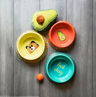 "TarHong Fun Food Avocado Pet Bowl, Medium, 9"" x 2.4""/ 4 Cups, Melamine, Set of 2, Orange, rollover"