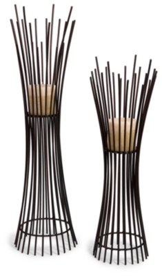 Metal Candleholder Duo Black Accents Product Photo 3345