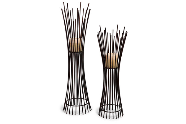 Home Accents Metal Candleholder Duo (Set of 2) by Ashley HomeStore, Black