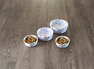 """TarHong Terrazzo Pet Bowl, Small, 5"""" x 1.7""""/ 1.5 Cups, Melamine, Set of 2, White/Blue, rollover"""