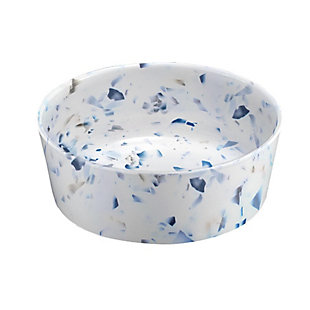 """TarHong Terrazzo Pet Bowl, Small, 5"""" x 1.7""""/ 1.5 Cups, Melamine, Set of 2, White/Blue, large"""