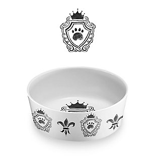 "TarHong Couture Pet Bowl, Small, 5"" x 1.7""/ 1.5 Cups, Melamine, Set of 2, White/Black, large"