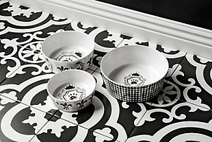 """TarHong Couture Pet Bowl, Small, 5"""" x 1.7""""/ 1.5 Cups, Melamine, Set of 2, White/Black, rollover"""
