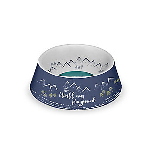 "TarHong Playground Pet Bowl, Medium, 7.8"" x 2.5""/ 3 Cups, Melamine, Set of 2, Blue, large"