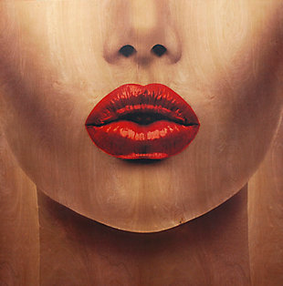 """Red Lips 30"""" x 30"""" Reverse Printed Acrylic, , large"""