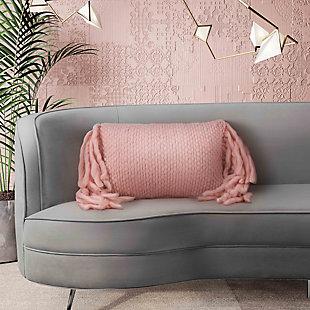 TOV Afrino Wool Blush Pillow, Pink, rollover