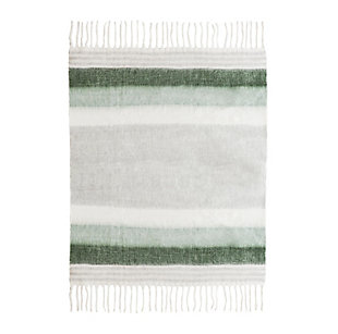 TOV Afrino Wool Green/White Throw, , large