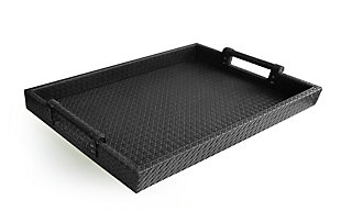 Black Faux Leather Tray with Handles, , rollover