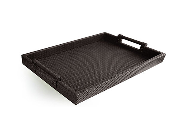 Brown Faux Leather Tray with Handles, , large