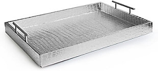 Silver Alligator Tray with Metal Handles, Silver, large