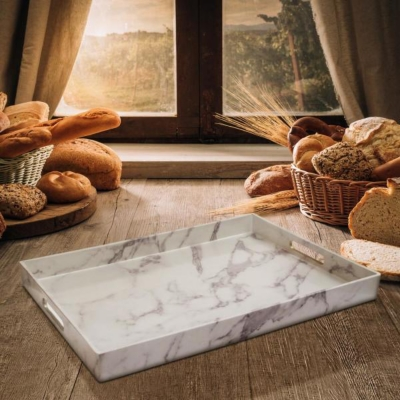 Marble Swirl Rectangular Tray with Handles, , large