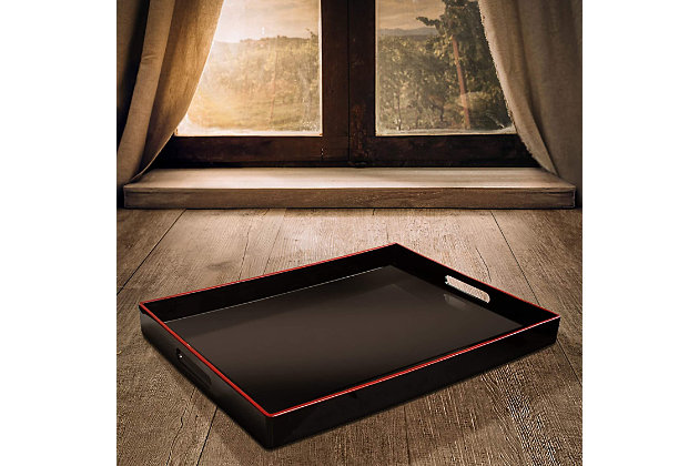 Black Tray with Handles, Black, large