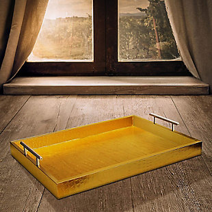 Gold Alligator Tray with Metal Handles, Gold, rollover