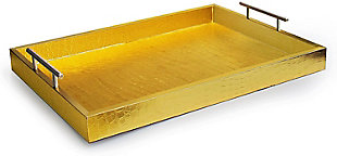Gold Alligator Tray with Metal Handles, Gold, large