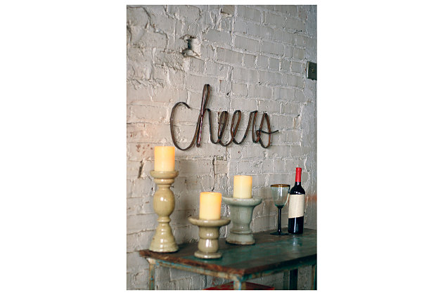 Black Home Accents Scrap Iron Cheers by Ashley HomeStore