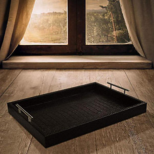 Black Alligator Leather Tray with Handles, Black, rollover
