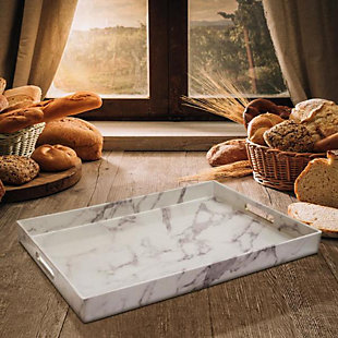 White/Gray Marble Tray with Handles, , rollover