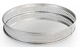 Silver Metal and Glass Round Tray, Silver, large