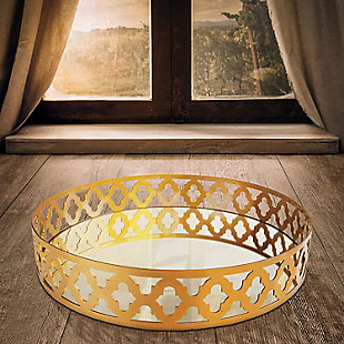 Gold Metal and Glass Round Tray, Gold, rollover