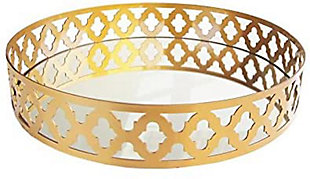 Gold Metal and Glass Round Tray, Gold, large