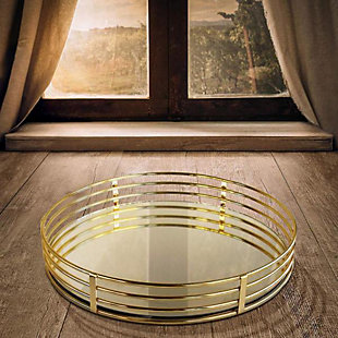 Round Gold Serving Tray, , rollover