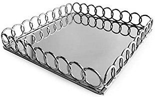 Silver Looped Square Mirror Tray, Silver, large