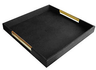 Black Tray with Silver Handles, Black, rollover