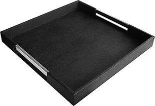 Black Tray with Silver Handles, Black/Silver, rollover