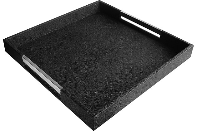 Black Tray with Silver Handles, Black/Silver, large