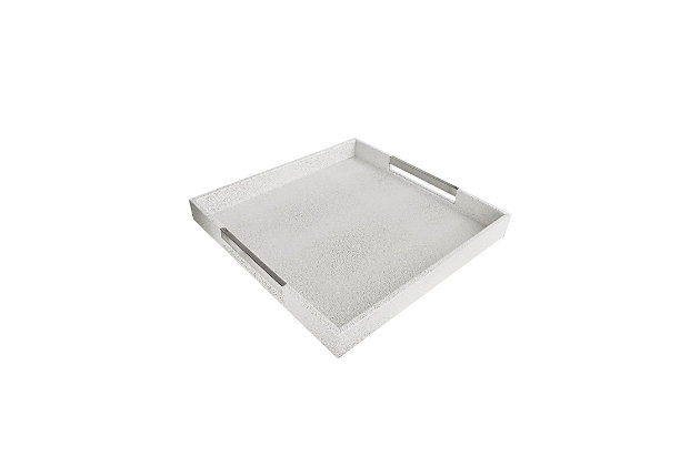 White Tray With Gold Handles, White, large