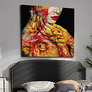 """Floral Skin 30"""" x 30"""" Red and Yellow Reverse Printed Acrylic, , rollover"""