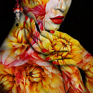 """Floral Skin 30"""" x 30"""" Red and Yellow Reverse Printed Acrylic, , large"""