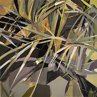 """Dim Palm Leaves 38"""" x 38"""" Giclee on Canvas, , large"""
