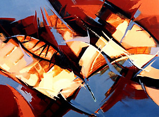 """Abstract Stems 30"""" x 40"""" Giclee on Canvas, , large"""