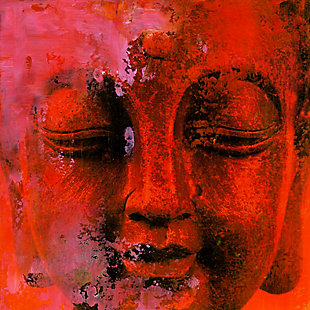 "Red Buddha 30"" x 30"" Reverse Printed Acrylic, , large"