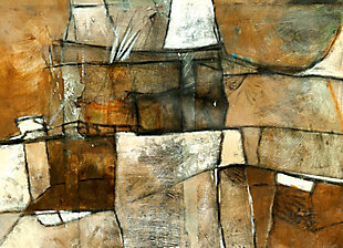 "Earthen Abstract 38"" x 54"" Brown and White Giclee on Canvas, , large"